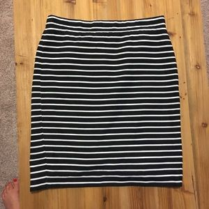 J. Crew black and white striped pencil skirt